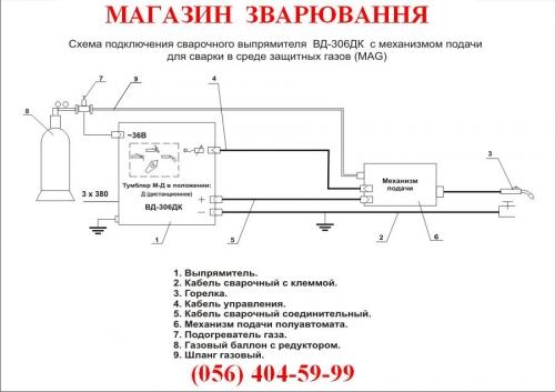 Схема подключения сварочного выпрямителя ВД-306ДК с механизмом подачи для сварки в среде защитных газов (MAG) .