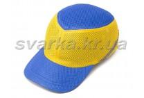 Каска-бейсболка ударопрочная со светоотражающей лентой сине-желтая