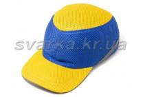 Каска-бейсболка ударопрочная со светоотражающей лентой желто-синяя