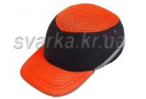 Каска-бейсболка ударопрочная со светоотражающей лентой оранжево-черная
