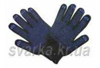 Перчатки трикотажные черные с синей ПВХ точкой (класс 8611)