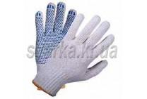 Перчатки трикотажные белые с синей ПВХ точкой (класс 10к110)