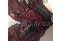 Перчатки трикотажные черные с красной ПВХ точкой (класс 10к110)