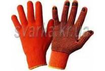 Перчатки трикотажные оранжевые с синей ПВХ точкой (класс 10к110)